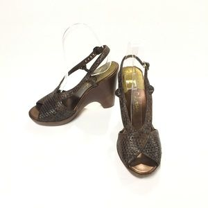 Cole Haan Braided Brown Leather Wedges Size 7